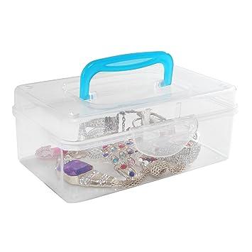 Multi Purpose Mini Clear Plastic Travel Storage Box / Portable Transparent  Container Bin   Blue