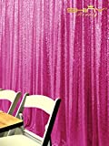ShinyBeauty Sequin Backdrop 8FTx8FT-Fuchsia,Sequin Curtain Backdrop Photo Booth Wedding Props Glitter Party Background Decorations (Fuchsia)