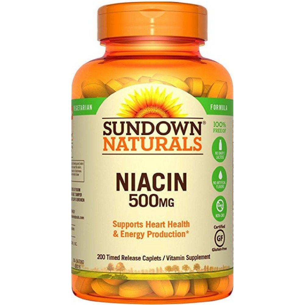 Sundown Naturals Niacin 500 mg Time Release Caplets 200 ea (Pack of 3) by Sundown Naturals