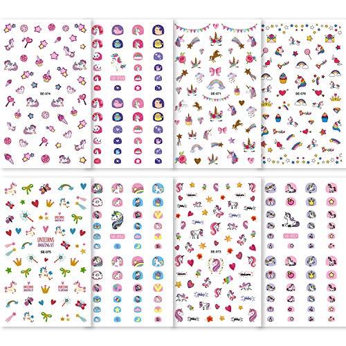 Konsait Unicorn 3D Nail Art Stickers Decals (400+Designs), Rainbow Unicorn Heart Bowknot Nail Sticker False Nail Manicure Decals Toe Wraps for little girls birthday Xmas New Year Nail Tip Decoration
