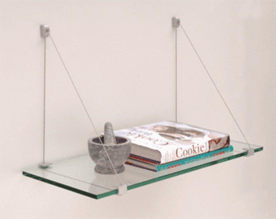 CRL Satin Aluminum 6'' x 24'' Cable Glass Shelf Kit