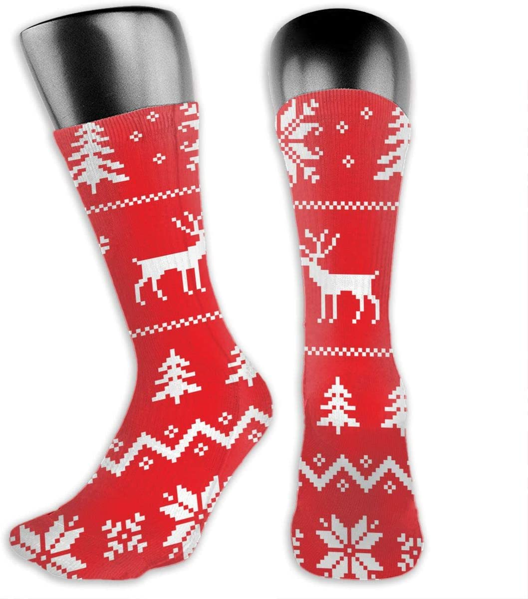 OLGCZM Christmas Snowflake and Deer Men Womens Thin High Ankle Casual Socks Fit Outdoor Hiking Trail