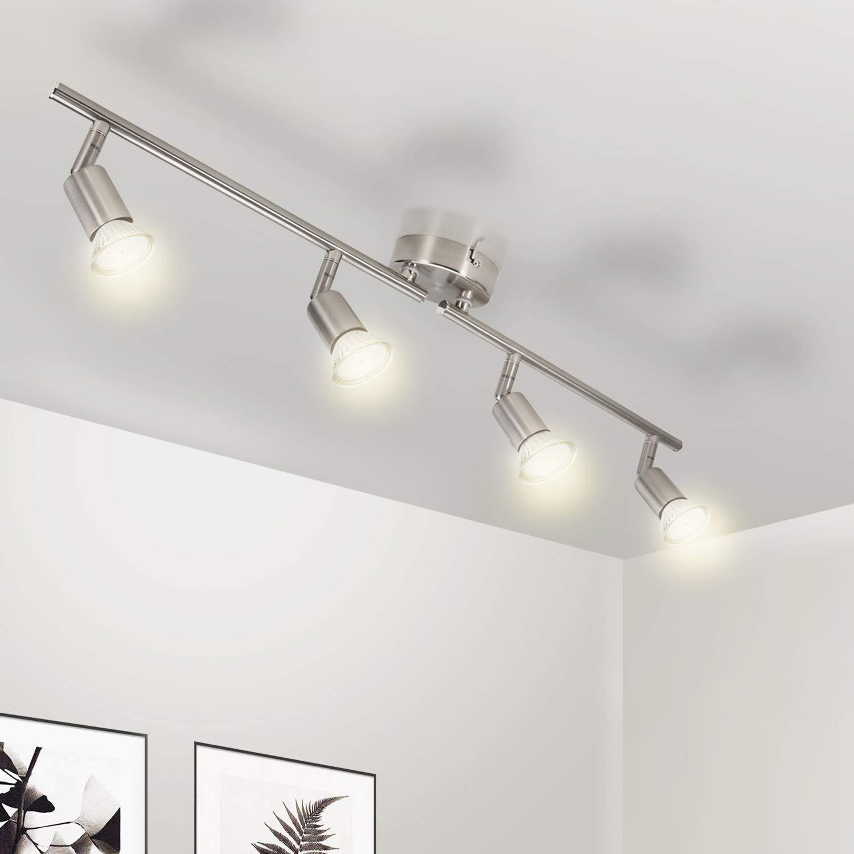 Ceiling Light Wowatt Ceiling Spotlights For Kitchen Ceiling Living Room Modern Spotlight Ceiling Bulbs 4 x Gu10 5W 420lm 2800k Warm White Rotatable Lighting Downlight Ra82 AC 220-240V Matt Nickel Metal [Energy Class A+]
