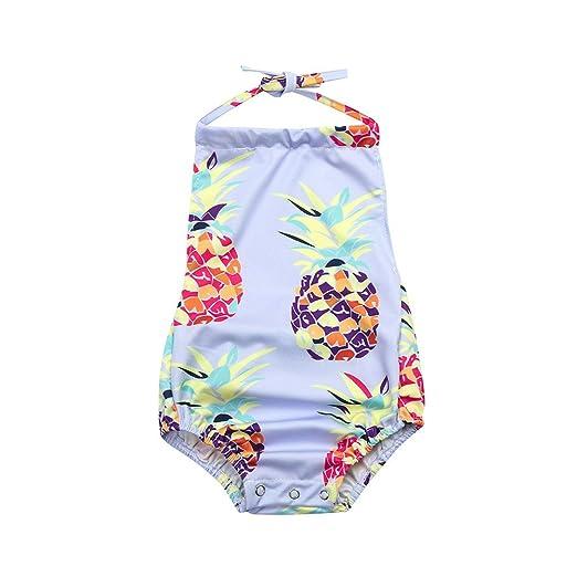 081fd3e1b0904 Amazon.com  Fartido Infrant Baby Girl Pineapple Print Swimwear Backless Beach  Clothes  Clothing