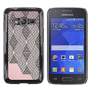 FECELL CITY // Duro Aluminio Pegatina PC Caso decorativo Funda Carcasa de Protección para Samsung Galaxy Ace 4 G313 SM-G313F // Pink Peach Black Lines Checkered Pattern