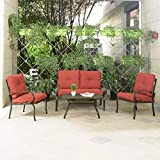 Cloud Mountain 4 Piece Patio Furniture Set Outdoor Conversation Set Cushioned Sofa Set Garden Love...