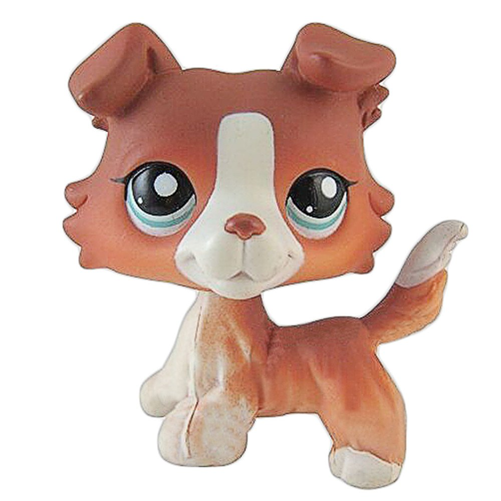 # 1542 Pet Shop Red Brown Collie Dog Puppy Blue Eyes Figure Toy LPS Gift for Boys and Girls crossed3_Pet toy store