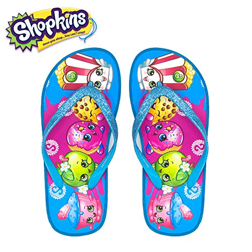 Shopkins Girls Wedge Sandals with Sidewall Print in Torq/Multi, Size 2/3