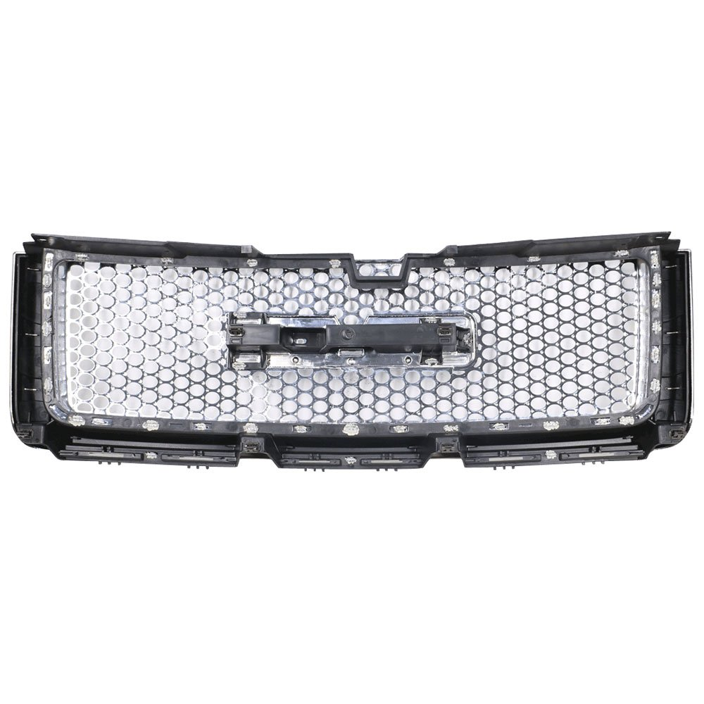 ABS Plastic Chrome Front Bumper Upper Hood Grill Grille By IKON MOTORSPORTS 2008 2009 2010 2011 2012 Grille Compatible With 2007-2013 GMC Sierra 1500 Denali