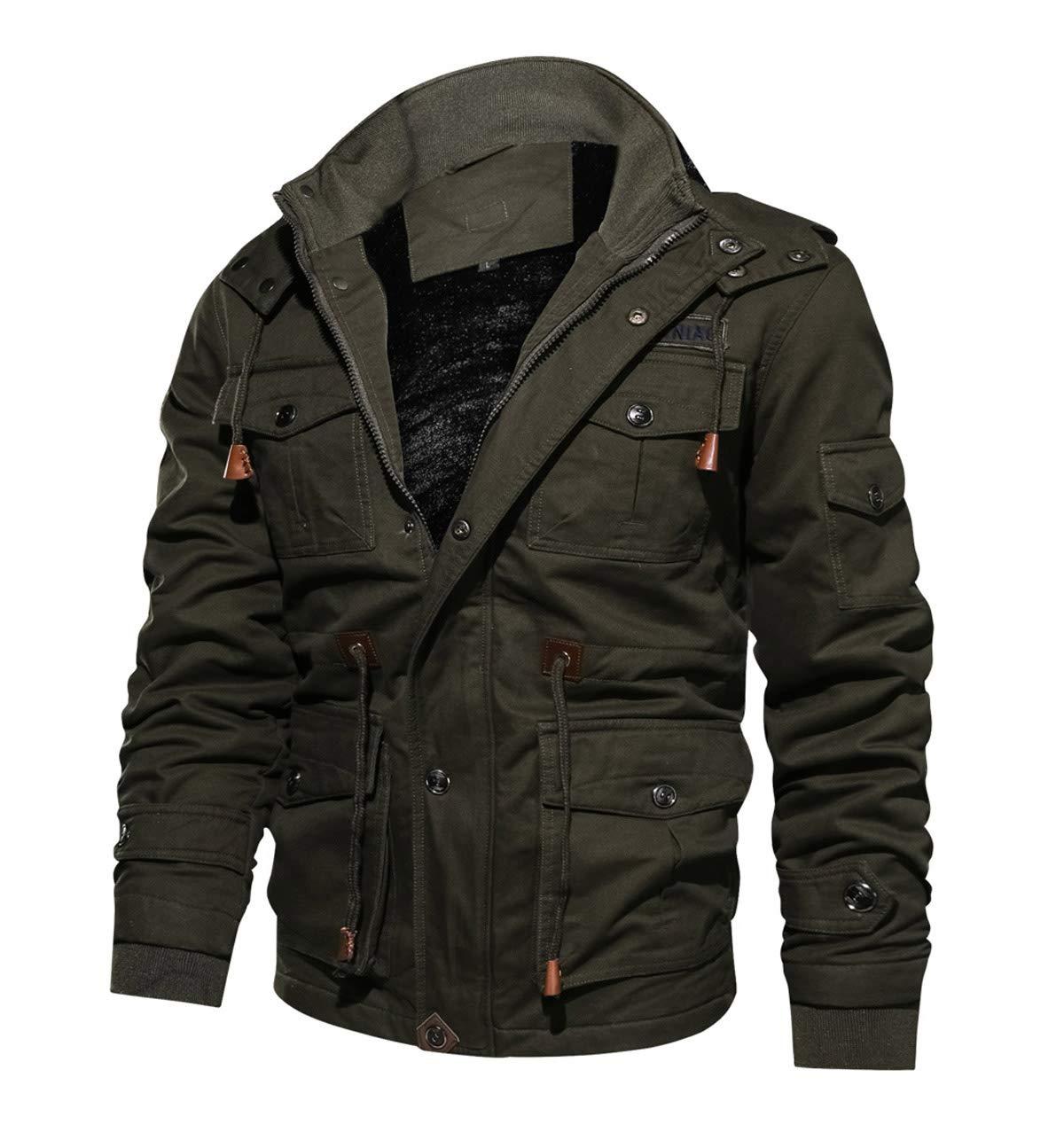 CRYSULLY Men's Multi Cargo Pocket Tactical Safari Jacket Fall Cotton Field Fleece Jacket Army Green by CRYSULLY