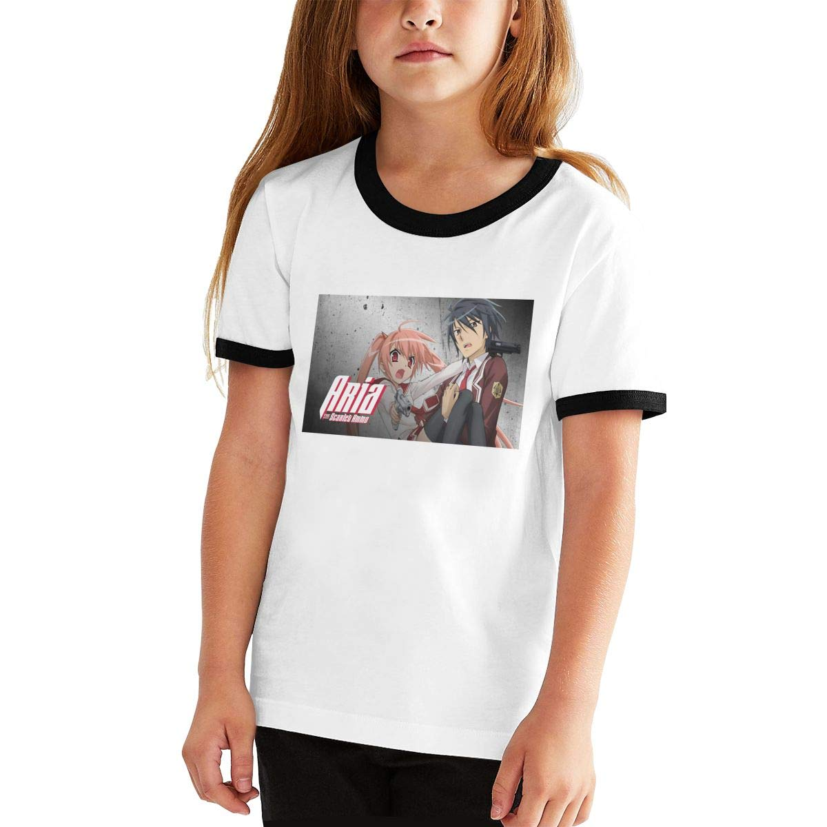 DNWYALL-Tee Young Boys and Girls Teen-Agers Funny Two-Toned T-Shirt Black