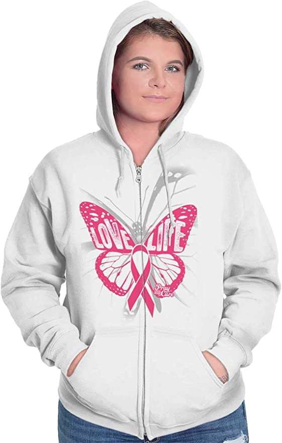 INTERESTPRINT Breast Cancer Symbol with Flying Butterflies Long-Sleeve All Over Print Mens Hoodie