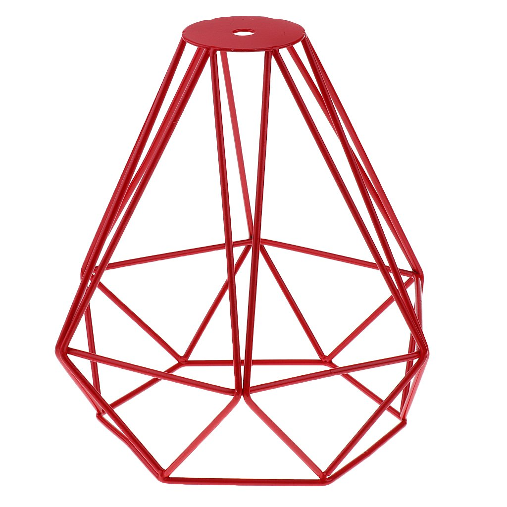 Générique Cage en Métal Forme de Diamant Abat-Jour de Lampe de Plafond Vintage Pendentif Loft Décor - Orange