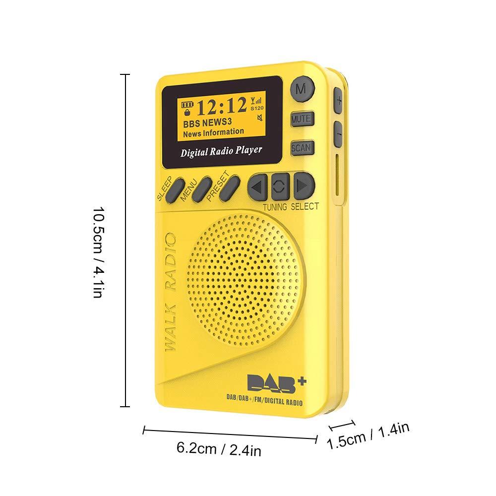 Gamogo P9 Mini Pocket Dab//FM Radio Digital FM Demodulador Digital con Pantalla LCD Reproductor de MP3 port/átil Ranura para Tarjeta TF