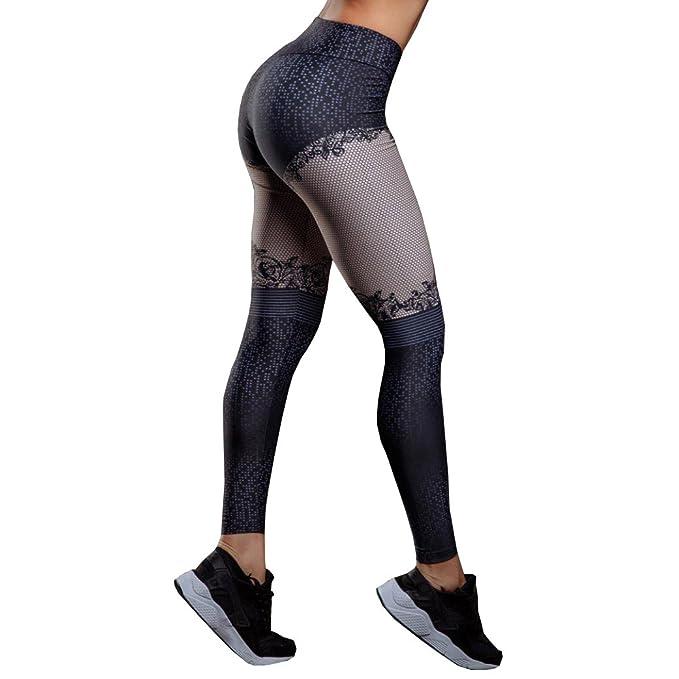 Yogogo Damen 3 4 Yoga Leggings Hose Hohe Taille Pants   Trainingshose Hosen    Mesh Muster Print Patchwork Leggings   Sport Fitness Workout Leggins ... 50c975efbe