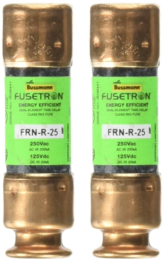 Bussmann BP/FRN-R-25 25 Amp Fusetron Dual Element Time-Delay Current Limiting Fuse Class RK5, 250V UL Listed, 2-Pack by Bussmann