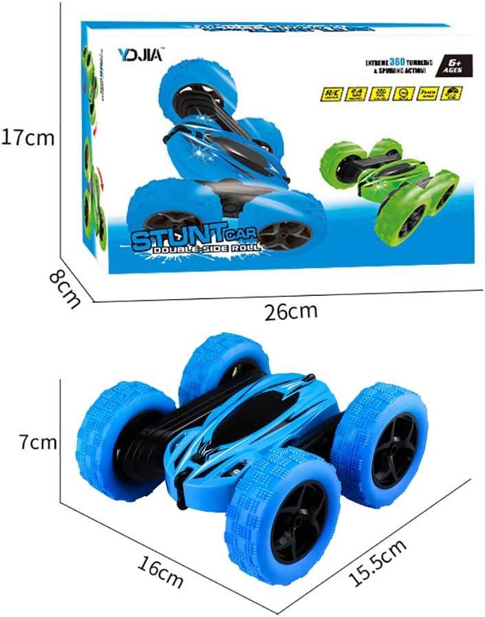 Design A Bleu Mallalah Voiture RC T/él/écommand/ée USB Rechargeable Course Cascadeur /à Double Rotation 360 Degr/és 2,4GHz Stunt Car Radiocommand/ée Cadeau Enfant