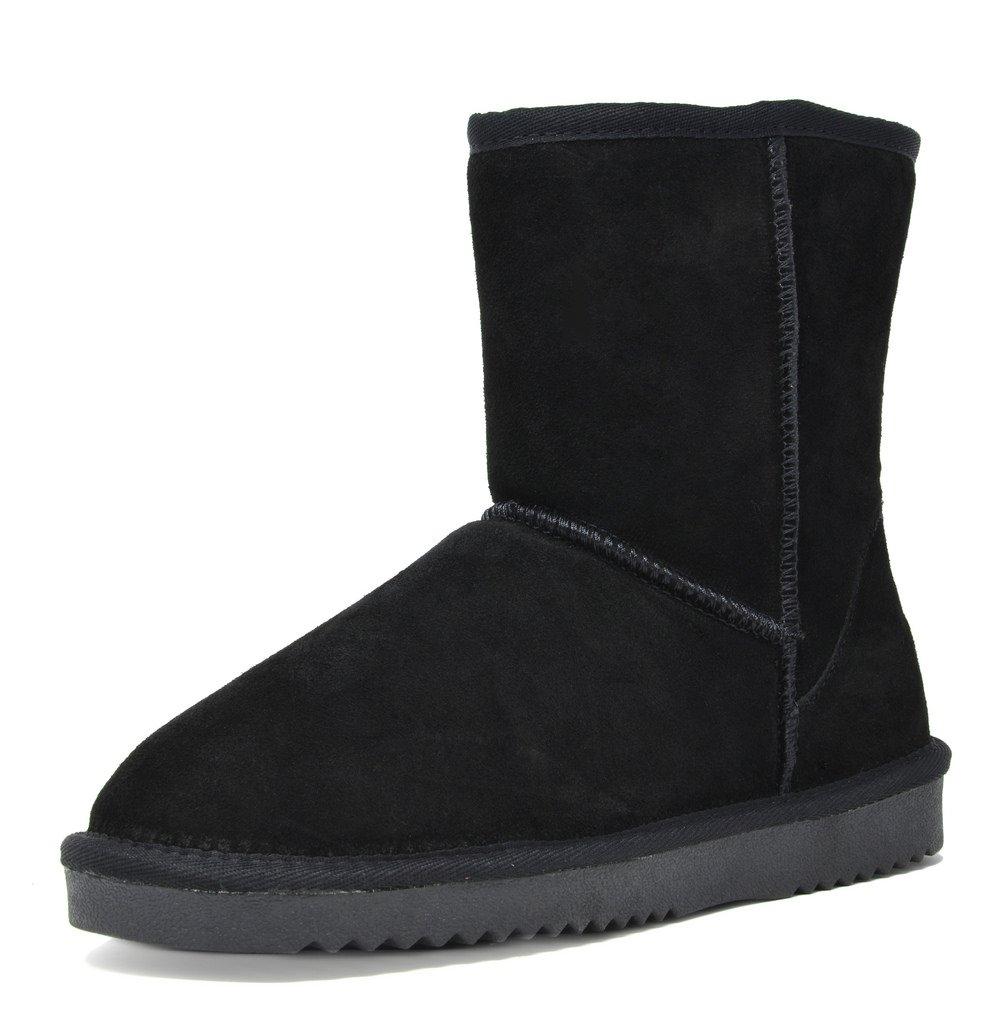 DREAM PAIRS Women's Shorty Black Sheepskin Fur Ankle High Winter Snow Boots - 10 M US