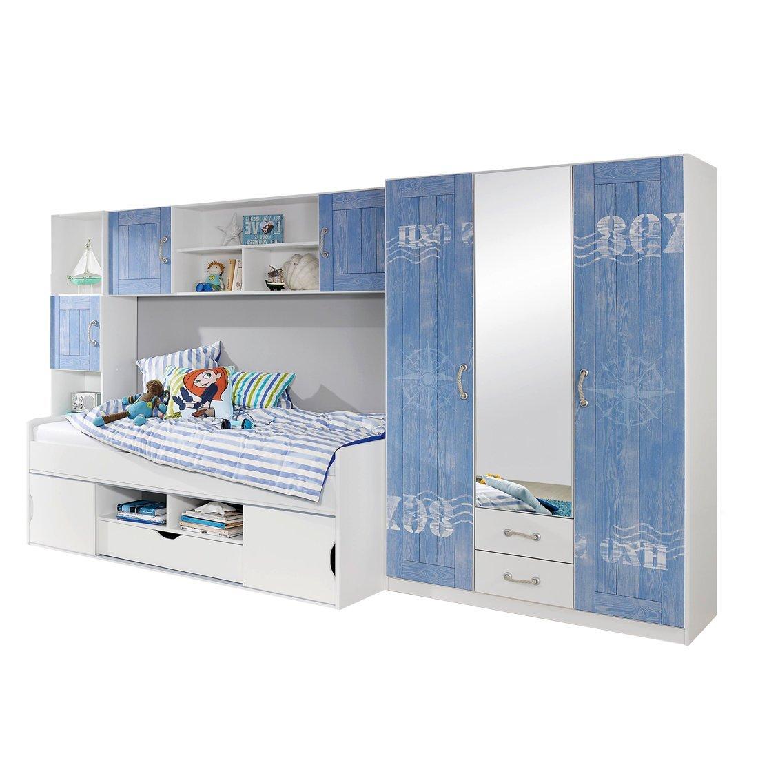 Rauch Jugendzimmer Kinderzimmer Weiß Alpin, Printdekor Blau, 4 ...