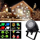 LED Holiday Projector Lights, 12 Slide Shows Landscape Lamps, IP44 Waterproof System, 7W Dynamic Movement Patterns for Various Festival-Black, 1PK