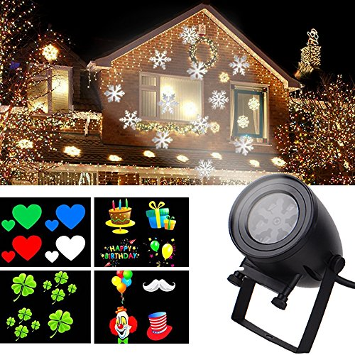 Light Dynamics Bullet (LED Holiday Projector Lights, 12 Slide Shows Landscape Lamps, IP44 Waterproof System, 7W Dynamic Movement Patterns for Various Festival-Black, 1PK)