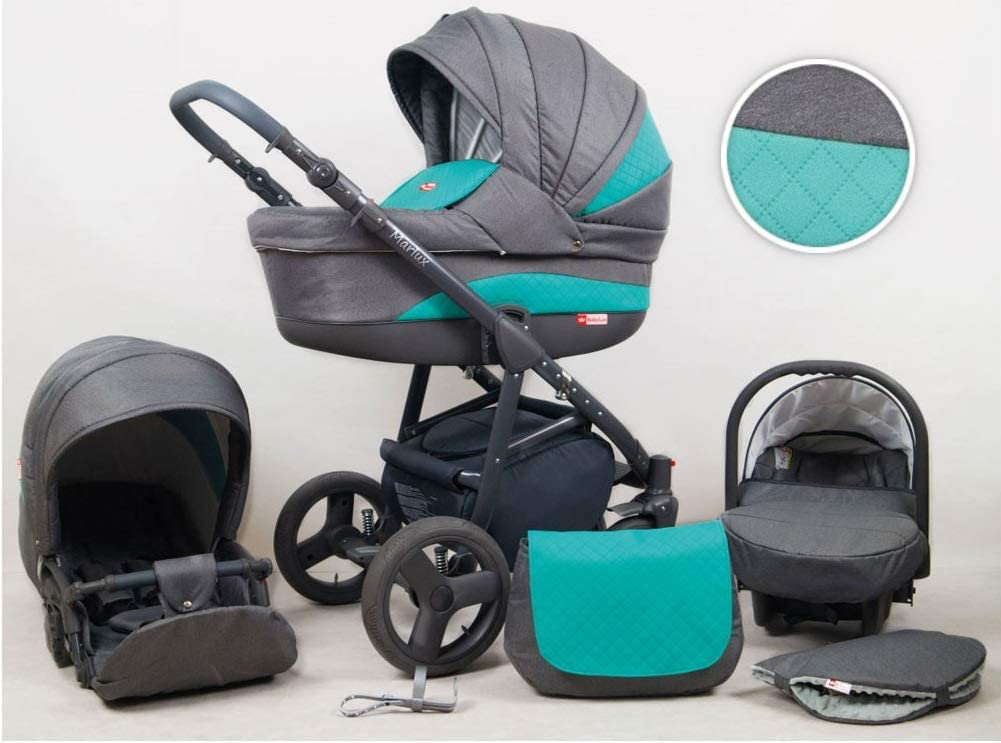 Travel System Stroller Pram Pushchair 2in1 3in1 Set Isofix Marley by SaintBaby Plum 2in1 Without Baby seat