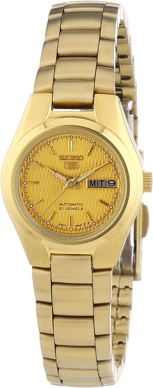 Seiko SYMC18K1 - Reloj analógico de mujer automático con correa de acero inoxidable dorada - sumergible a 30 metros