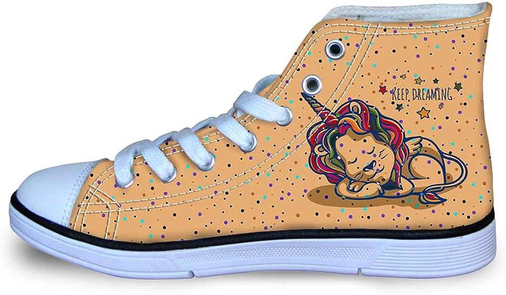 Canvas High Top Sneaker Casual Skate Shoe Boys Girls Lion Unicorn Keep Dreaming