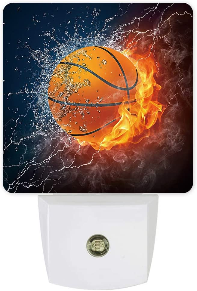 Nightlight Plug in LED Lights for Bedroom, Basketball on Fire Flame and Water Night Lights Plug into Wall with Light Sensors Room Decor for Nursery Children Kids Boys Girls
