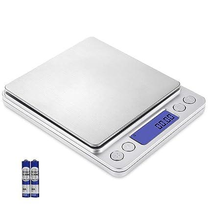 flintronic Báscula Digital de Cocina Escala Digital, 500g / 0.01g Acero Inoxidable Multifuncional Escala