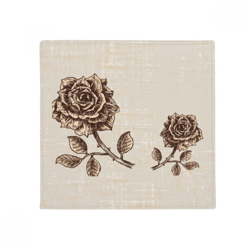 DIYthinker Antique pink Brown Flower Plant Anti-Slip Floor Pet Mat Square Home Kitchen Door 80Cm Gift