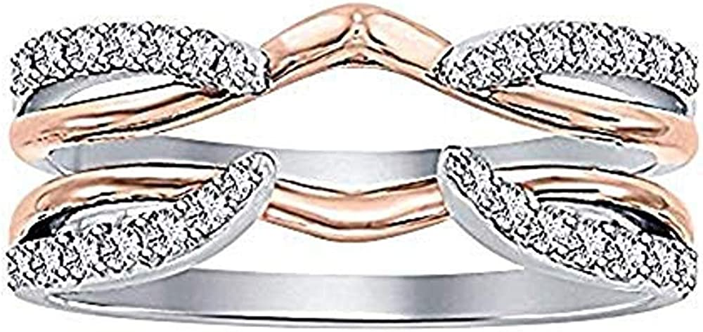 dazzlingjewelrycollection 1/4 ct White CZ Diamond Enhancer Solitaire Engagement Ring 14k Rose & White Gold Plated Guard Wrap Jacket
