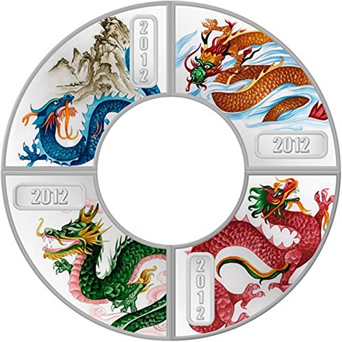 Shaped Coin Silver (2012 Cook Islands - Year of the Dragon - Fan-Shaped - 4 x $1 - Silver Coin Set - $1 Uncirculated)
