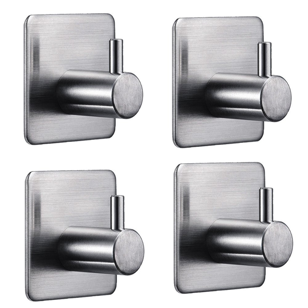 IKDMJ Stainless Steel 3M Self-Adhesive Right Angle Wall Hooks,1.8''1.8'',4-pack Single Hooks,Hat hooks,Coat hooks