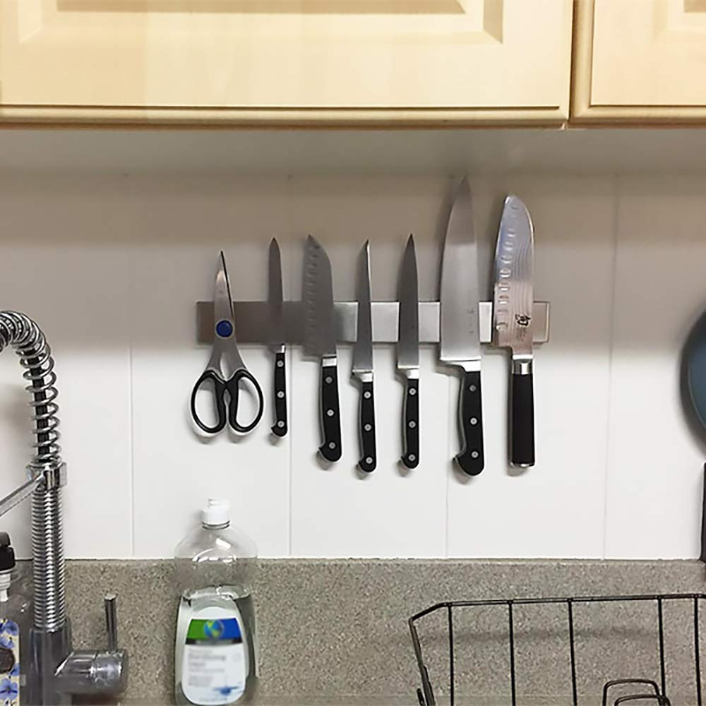 YANGMAN Wall Magnetic Knife Holder,Multi-Purpose Functionality As A Knife Holder Knife Strip Knife Rack Magnetic Tool Organizer 40 cm Stainless Steel Bar (Silver) by YANGMAN (Image #6)