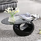 SUNCOO Glass Oval Coffee Table Contemporary Modern Design Living Room Furniture Black
