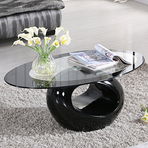 Living Room Oval Coffee Table - SUNCOO Coffee End Side Table with Shelves Living Room Furniture Oval Shape Tempered Clear Glass Top Gloss Black