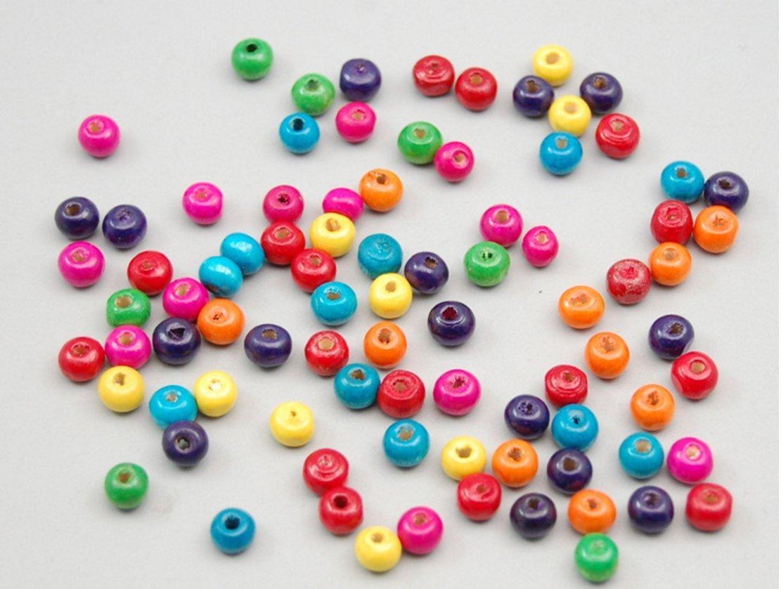 KOTIGER Mini creativo redondo de madera cuentas para bricolaje joyería accesorios (aproximadamente 100 piezas)