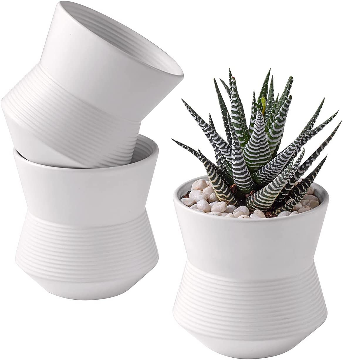 ZENMAG Plant Pots Set of 3,4 Inch White Ceramic Pots for Succulents Mini Plants,Herbs Planters with Drainage Hole Indoor Outdoor Decor,Plants Not Included