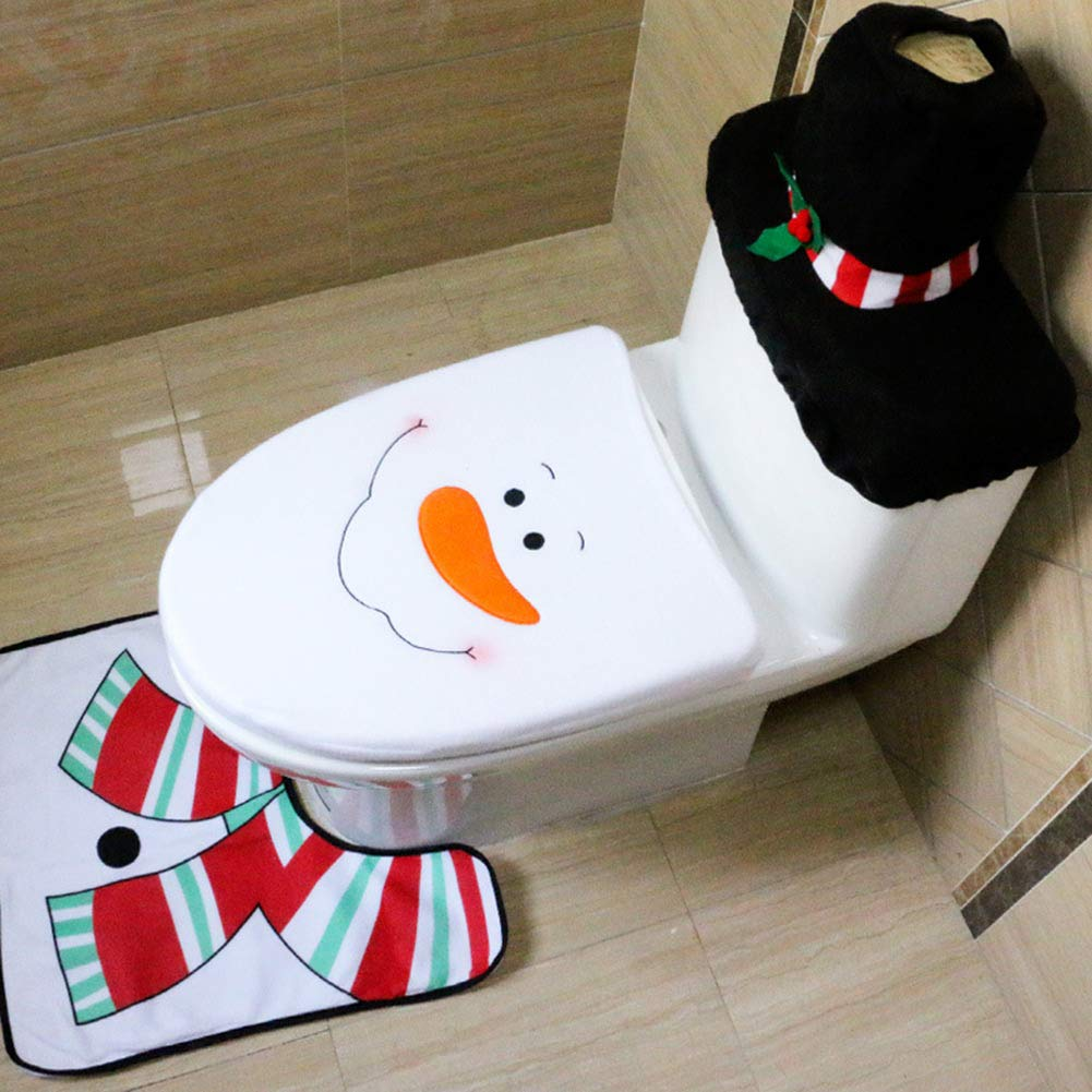 FEOYA Christmas Decorations for Home Toilet Seat Cover Set with Rug Set 3 Pieces Snowman
