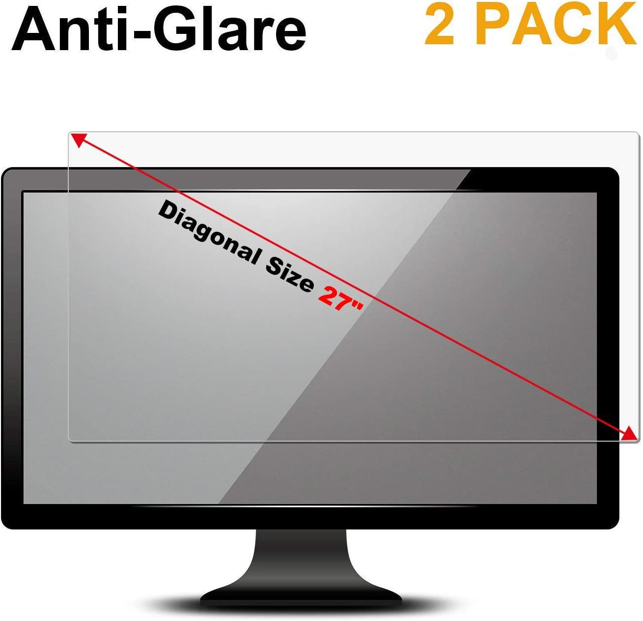 "FORITO 2 Pack 27 inch Anti Glare(Matte) Screen Protector Compatible with 27"" Widescreen Desktop Monitor with 16:9 Aspect Ratio Dell/Asus/Acer/ViewSonic/amsung/Aoc/HP Monitor(23.5"" W x 13.3"" H)"