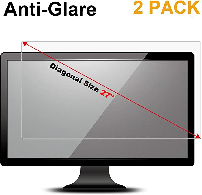 """FORITO 2 Pack 27 inch Anti Glare(Matte) Screen Protector Compatible with 27"""" Widescreen Desktop Monitor with 16:9 Aspect Ratio Dell/Asus/Acer/ViewSonic/amsung/Aoc/HP Monitor(23.5"""" W x 13.3"""" H)"""