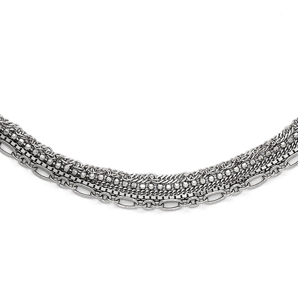 Five Strand Multi Style Chain Necklace in Rhodium Plated Sterling Silver, 15-17 Inch