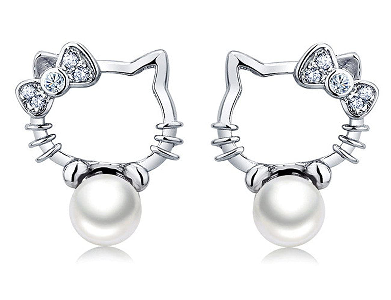 a233654d8 Amazon.com: S925 Sterling Silver Platinum-Plated Pearl Lovely Hello Kitty  Stud Earrings: Jewelry