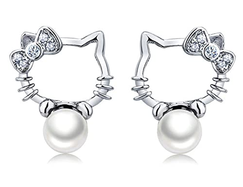 34de43cc5 Image Unavailable. Image not available for. Color: S925 Sterling Silver  Platinum-Plated Pearl Lovely Hello Kitty Stud Earrings