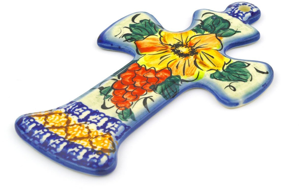 Polish Pottery 7½-inch Cross (Colorful Bouquet Theme) Signature UNIKAT + Certificate of Authenticity