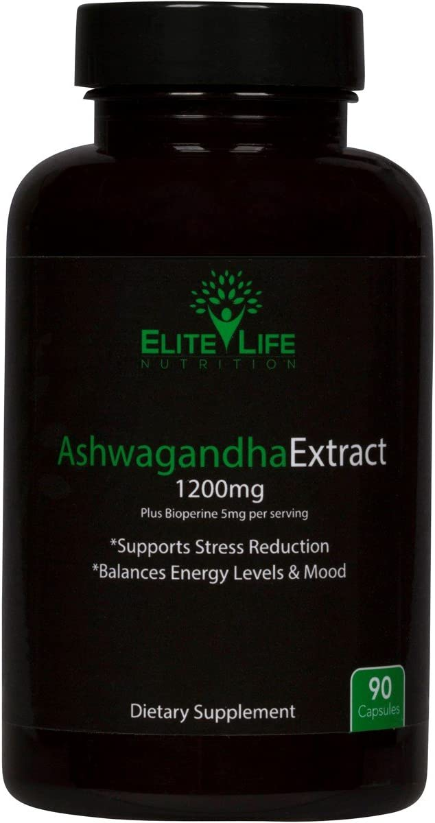 Pure Ashwagandha Extract 1200mg - With Bioperine 5mg - Best Natural Ashwagandha Root Extract for Men and Women - Supports Stress Levels, Energy, Sleep, and Mood - Withania Somnifera Herb - 90 Capsules