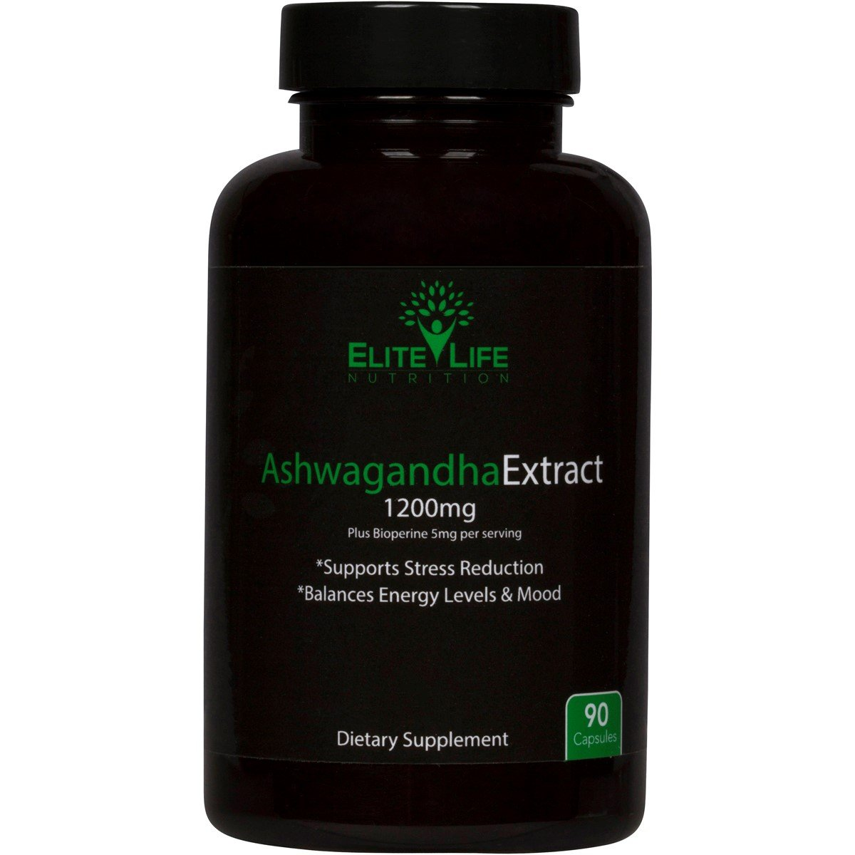 Pure Ashwagandha Extract 1200mg - With Bioperine 5mg - Best Natural Ashwagandha Root Extract for Men and Women - Supports Stress Levels, Energy, Sleep, and Mood - Withania Somnifera Herb - 90 Capsules by Elite Life Nutrition