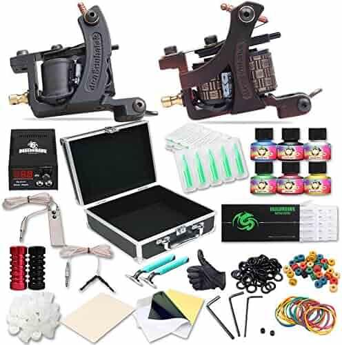 Dragonhawk Complete Tattoo Kit 2pcs Coil Tattoo Machine Tattoo Guns Color Immortal Inks Power Supply 50 Needles Tips Grips Travel Case Tattoo Supplies for Tattoo Artists 2-2YMX