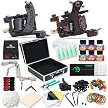 Dragonhawk Complete Tattoo Kit 2pcs Coil Tattoo Machine Tattoo Guns Color Immortal Inks Power Supply 50 Needles Tips Grips Travel Case Tattoo Supplies for Tattoo Artists 2-2YMX
